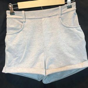 High rise cotton stretch waist shorts